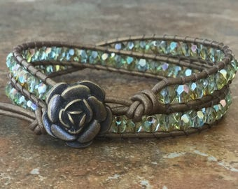 Aqua Leather Wrap Bracelet Bronze Leather Boho Chic Free Shipping
