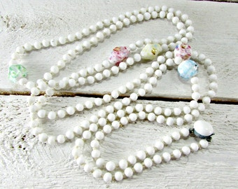Antique Art Deco Necklace, Extra Long Beaded Flapper Necklace, Pastel Foil & Milk Glass Bead Necklace, 1930s Great Gatsby Flapper Jewelry