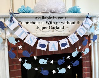 Whale Baby Shower Decorations - Navy It's a Boy Banner - Whale Nursery decor - Ahoy Its A Boy Banner - Baby Shower Banners