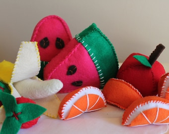 Felt Food, Felt Fruit Set, Felt Fruit, Garden, Felt Apple, Felt Orange, Felt Watermelon, Felt Strawberry, Felt Banana, Pretend Play