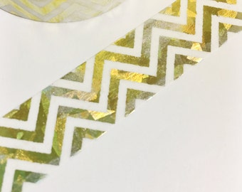 SALE Bright Shiny Metallic Gold and Silver Flecked Chevron Foil Washi Tape 11 yards 10 meters 15mm