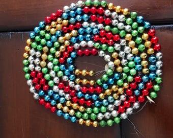 "Vintage Mercury Glass Garland -  Multi Color Glass Beads 102"" Long"
