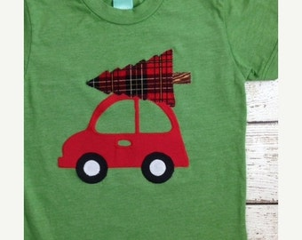 size 3T Ready to Ship Sale, Christmas shirt, Children's holiday shirt plaid and car detail tee baby, toddler