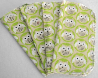 4 Pack - Green Owls Flannel Cloth Diaper Wipes