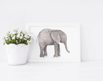 Grey Elephant Art Print - art print - elephant print - elephant - ideal gift for elephant lovers - elephant gift - FREE UK POSTAGE!