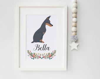 Dog Portrait - Personalised A4 Doberman Dog Art Print - pet portrait - Doberman - dog art print - ideal gift for dog lovers