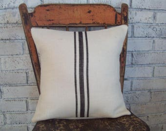 Black Striped Pillow Cover or Choice of Colors, Grain Sack Style Burlap Pillow Cover, Farmhouse Pillow, Rustic Pillow, Vintage Style Decor