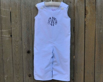 Blue seersucker Jon Jon, Longall shortall..Blue and White romper, can be monogrammed with add on...3m,6m,9m,12m,18m,2t,3t