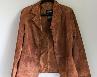 SALE - 90s brown suede leather jacket blazer