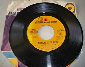 """Vintage 1970's """"Midnight At The Oasis"""" 45 rpm record by Maria Muldaur"""
