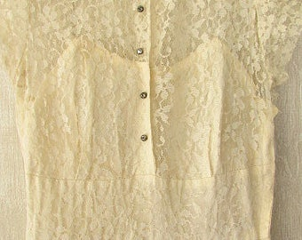 vintage 30s ivory lace dress rhinestone buttons netted front pleat beautiful xxs b30 free shipping