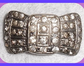 Embellishment Victorian SHOE Brooch Buckle 1850's Rhinestone Silver Plated,  Bow, Bridal Pin