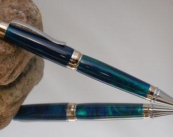Handmade Pen Blue and Green Acrylic Cigar Style