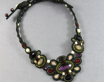 Soutache Necklace / dark green, khaki, amethyst, sand opal, creme, red