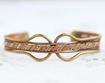 Cuff Bracelet - Brass and Twisted Copper Eighties Cuff - Boho Jewelry