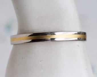 Cuff Minimalist Bracelet - Boho Jewelry - Silver and Golden Stripes - Magnetic Healing
