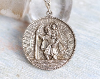 St Christopher Medallion Necklace - Religious Icon Pendant on Chain