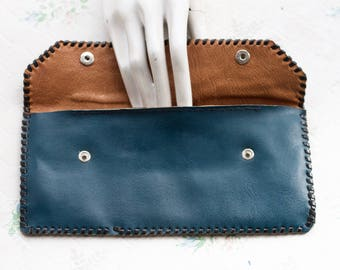 Blue Leather Wallet - Long Purse