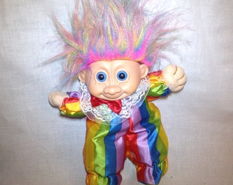 Troll Clown Clowny Rainbow Hair Troll Doll