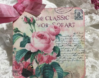 XL Vintage Collage Roses Gift Tags ( Set of 6 )  Note Cards, Collectibles, Handmade, Scrapbooking, Journaling