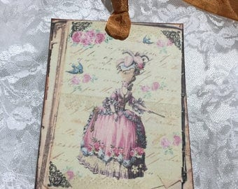 XL Gift Tag Set Vintage Marie Antoinette  ( Set of 6 ) Notecards, Stationery, Scrapbooking, Journals, Gift Item, Gift Wrapping