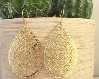 Filigree Teardrop Earrings ~ Gold