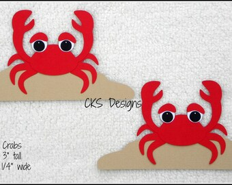 Die Cut Red CRABS Scrapbook Page Embellishments for Card Making Scrapbook or Paper Crafts