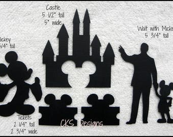 Die Cut Disney Mickey Castle Walt & Tickets Silhouette Scrapbook Page Embellishments or Card Making Paper Crafts