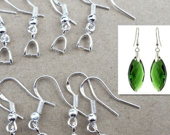 20pcs, 10pairs-silver Ear wire, Earring Hooks with Pinch Bail