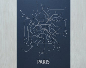 Paris Screen Print- Navy/Metallic Silver
