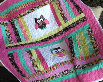 Owl or sock monkey baby girl quilt 50x58 and matching personalized pillow