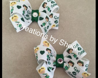 Girl Scouts Hair Bow Clip  pigtail set. -Green Scouts