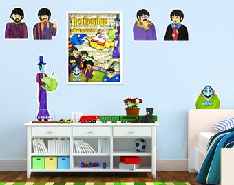 The Beatles Wall Decals Yellow Submarine Nursery Boys Room Removable Durable Vinyl Fabric set of 4