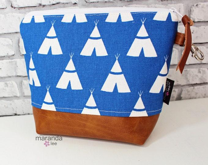 AVA Medium Clutch -Cobalt Blue Teepee READY to SHIp