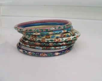 Pick One Vintage Cloisonne Bangle Bracelets Enamel Bangle Bracelets 8 3/4 inches Vintage Cloisonne Enamel Bracelet