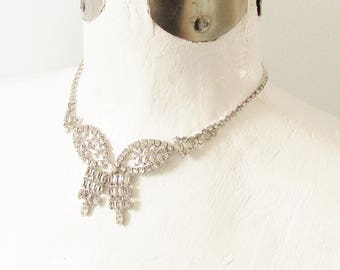 Sterling Clear Rhinestone Necklace signed Jay Flex 1960s