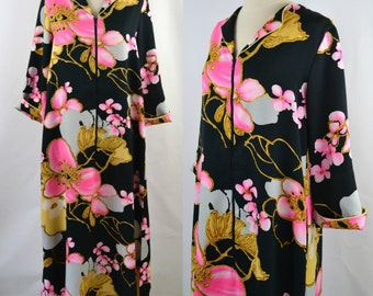 1980s Black Kimono Robe, Large Pink, Gold and White Floral Print by David Brown, Housecoat