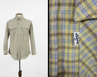 Vintage 70s Levi's Plaid Shirt Button Up Blue Yellow Tapered Long Sleeve - Medium