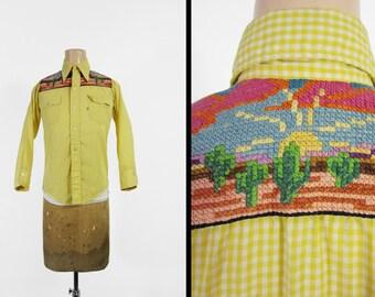 Vintage 70s Levi's Embroidered Shirt Western Desert Saddleman Plaid - Women's Small