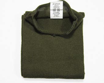 Vintage US Army Scarf OD Green Wool Military Knit Cold Weather Neckwear