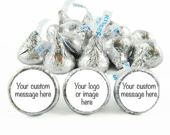 We Print - Includes Chocolate - Custom Assembled Personalized Hershey's KISS Chocolate + Labels