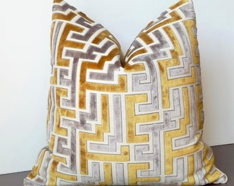 Geometric Velvet Pillow, Cut Velvet, Gold Grey Designer Pillow, High End Pillow, Luxury Pillow, Abstract, Greek Key, Modern Pillow Cover