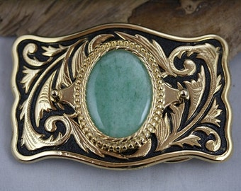 Green Aventurine Gold Western Belt Buckle - Item 1841