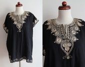 Vintage Kaftan Shirt - 1970's Black Embroidered Blouse  - Size L