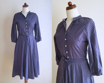 Vintage Polka Dot Dress - Blue 1960's Dress with white dots - Size S