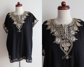 Vintage Kaftan Shirt - 1970's Black Embroidered Blouse  - Size L