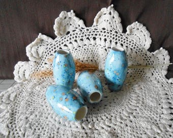 4 X-Lg Oval  Shaped Glazed Ceramic Macrame Beads-Handcrafted-Blue-Koi Pond-TO4-13