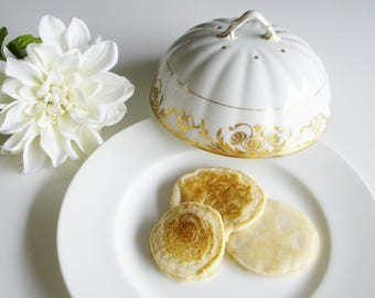Antique, Porcelain, Pancake Dome, Muffin Warmer, Biscuit, Warmer, Serving Cover, Gold and White, Cloche, Food Dome, Pancake Cover, Crepe