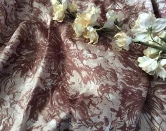 Vintage Brown Splashed  Asian Chrysanthemum Floral Design Silk Fabric, Vintage Silk Material, Vintage Textiles, Vintage Sewing Supplies