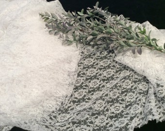 Vintage White Floral Nylon Lace Fabric< Vintage Textiles, Wedding Lace, Vintage Bridal Lace, White Lace Fabric, Vintage Sewing Supplies